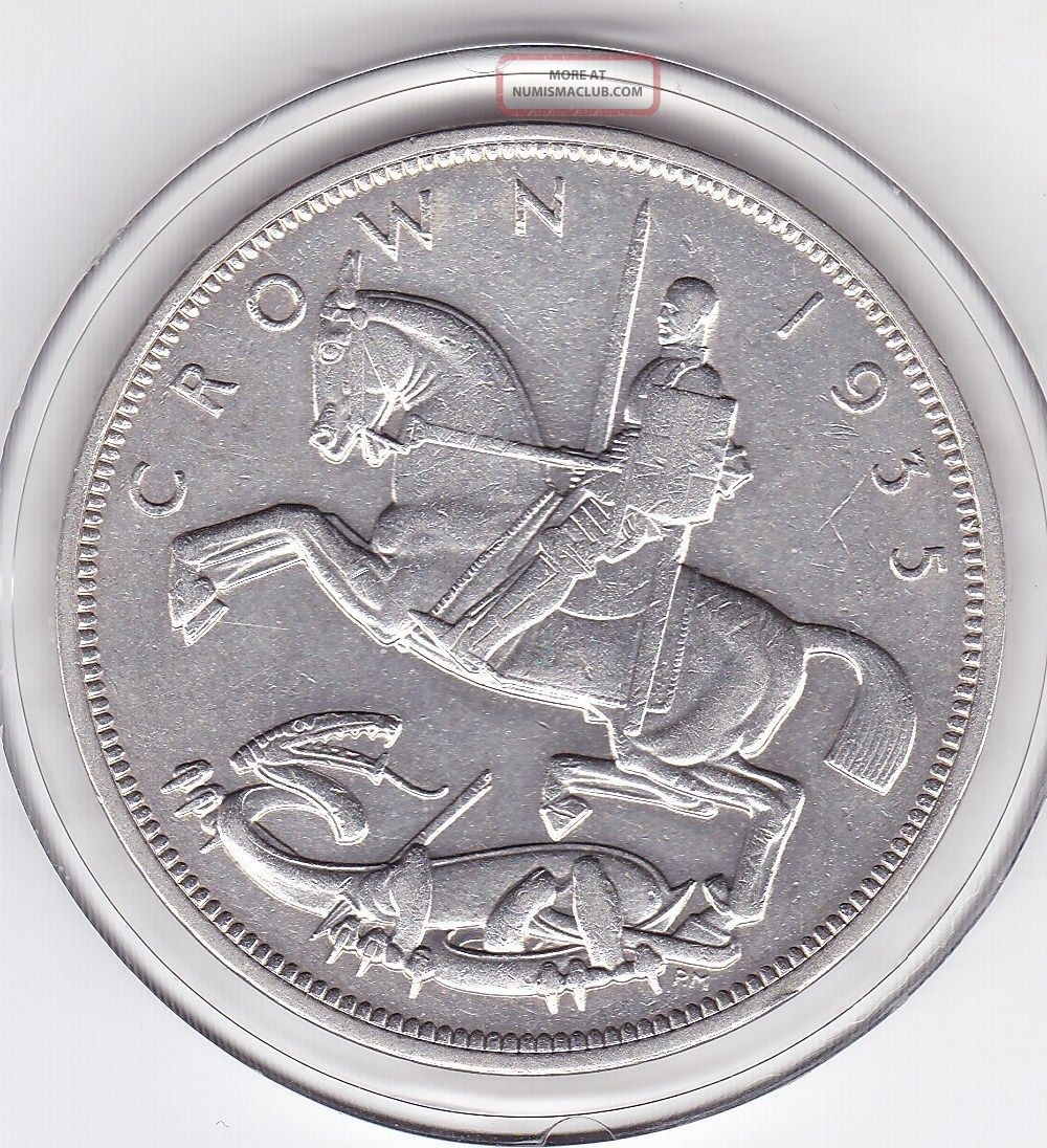 1935 King George V Large Crown / Five Shilling British Coin UK (Great Britain) photo
