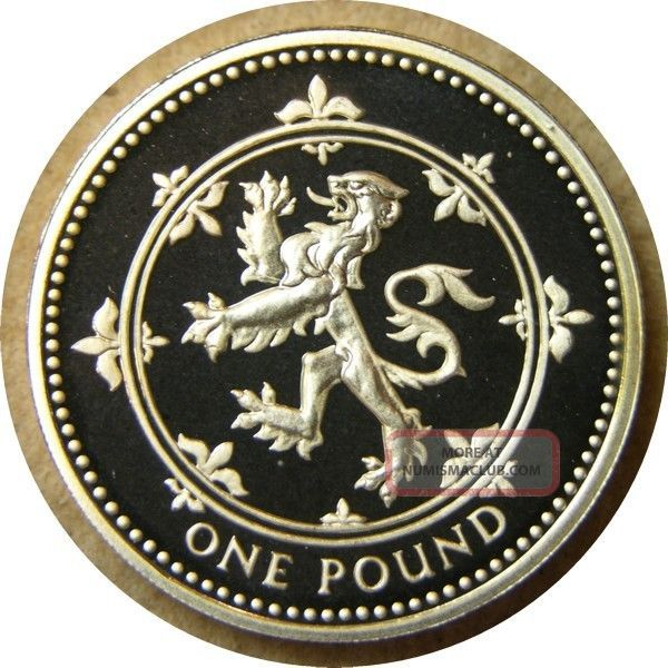 Elf Great Britain 1 Pound 1999 Silver Proof Scottish Lion Frosted Reverse UK (Great Britain) photo