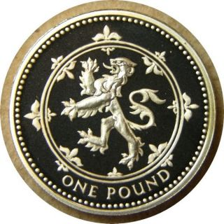 Elf Great Britain 1 Pound 1999 Silver Proof Scottish Lion Frosted Reverse photo