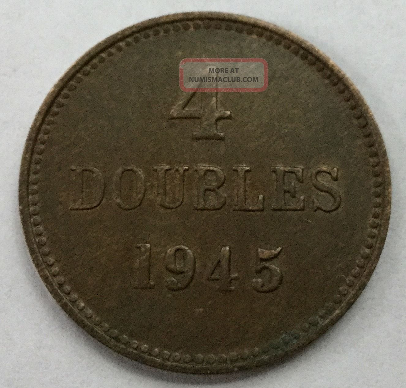 1945 Guernsey 4 Doubles Au Low Mintage Other European Coins photo