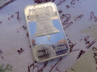 1 Oz.  Vintage 1980's Liberty Bell Art Bar Business Card.  999 Fine Silver photo