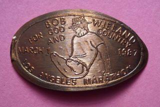 Bob Wieland Elongated Penny Ca Usa Cent 1987 Souvenir Coin Los Angeles Marathon photo