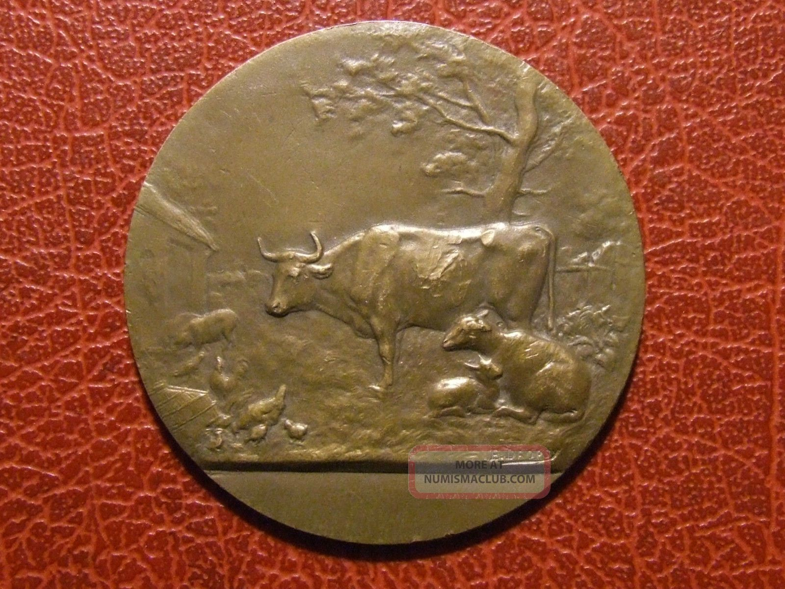 Art Nouveau Agriculture Farmers Animal L ' Allier Medal By E.  Dropsy Exonumia photo