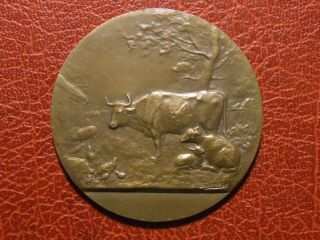 Art Nouveau Agriculture Farmers Animal L ' Allier Medal By E.  Dropsy photo