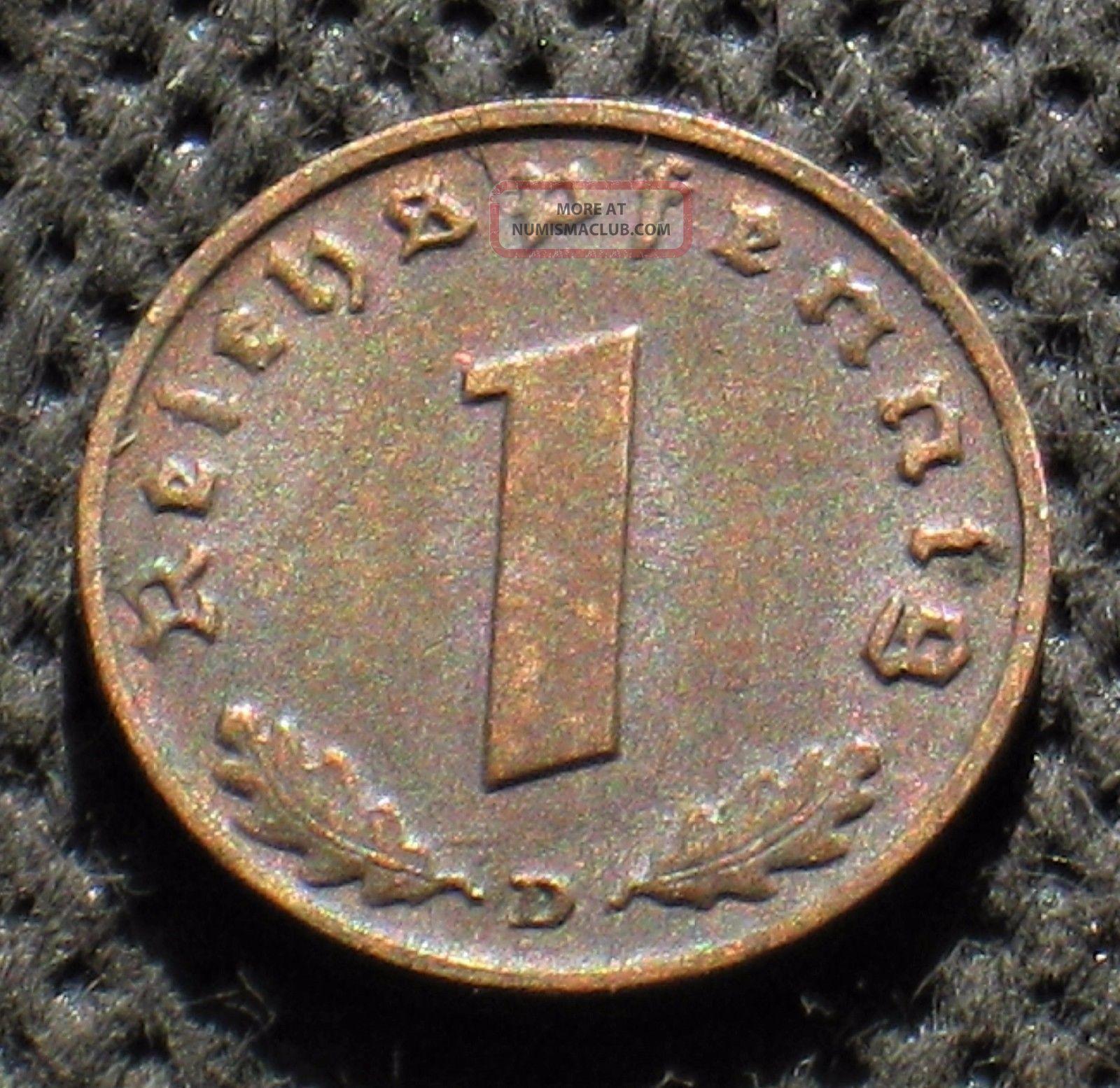 Old Coin Nazi Germany 1 Reichspfennig 1939 D Munich Swastika World War Ii (1) Germany photo