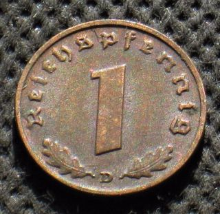 Old Coin Nazi Germany 1 Reichspfennig 1939 D Munich Swastika World War Ii (1) photo