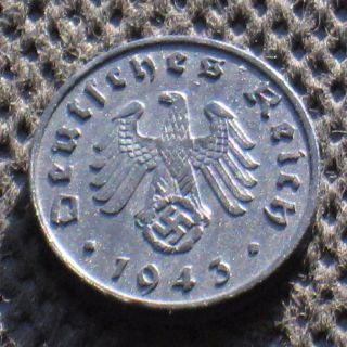 Old Coin Nazi Germany 1 Reichspfennig 1943 A Berlin Swastika World War Ii photo