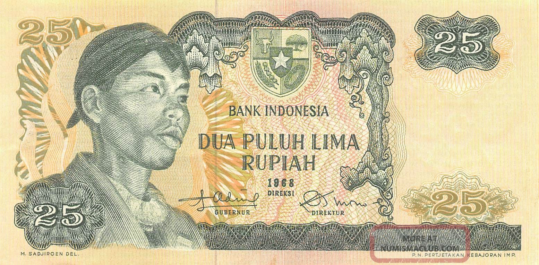 Indonesia 25 Rupiah 1968 P 106 Circulated Banknote Asia photo