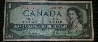 1954 Bank Of Canada $1 Dollar Note,  Devils Hair Head,  Beattie/coyne photo