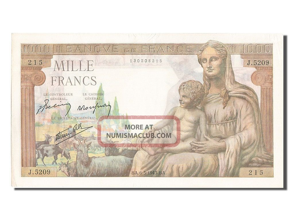 [ 203333] 1000 Francs Type Déesse Déméter,  P.  102,  06 Mai 1943 Europe photo