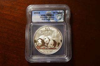 2013 Icg Ms 70 10 Yuan Panda 1 Oz Silver Chinese China Coin photo