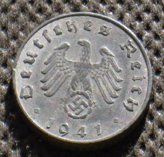 Coin Nazi Germany 5 Reichspfennig 1941 J Hamburg W/ Swastika World War Ii photo