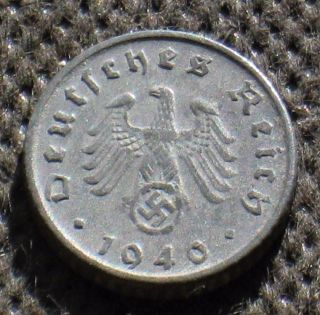 Coin Nazi Germany 5 Reichspfennig 1940 F Stuttgart W/ Swastika World War Ii photo