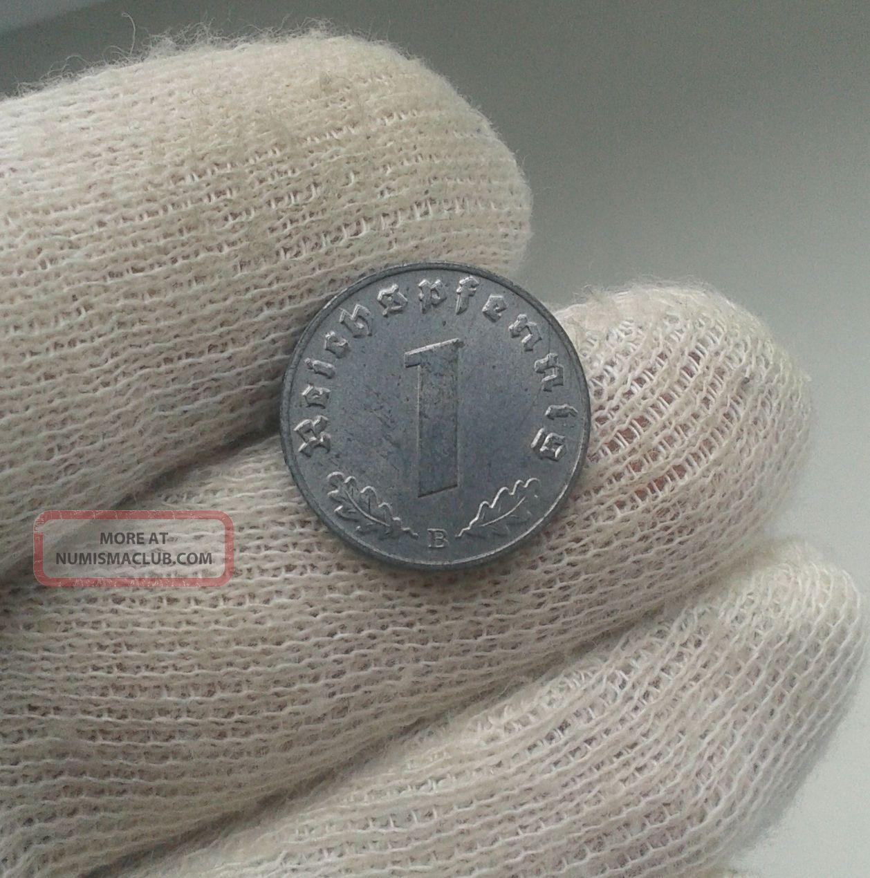 Xxrare German 3rd Reich 1944 B - 1 Reichspfennig Wwii Coin Uncirculated Germany photo
