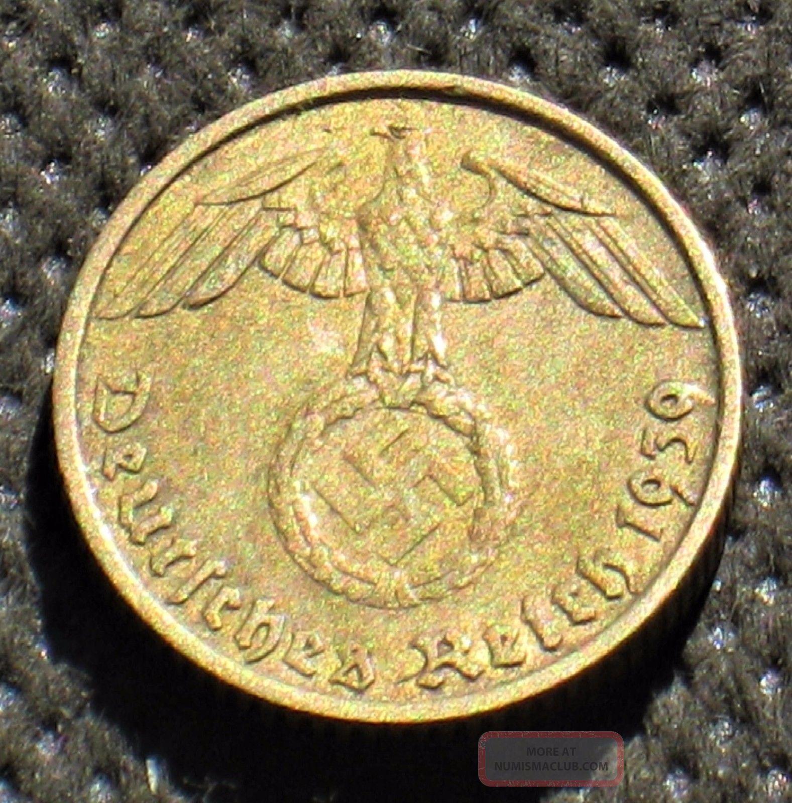 Old Coin Nazi Germany 5 Reichspfennig 1939 A Berlin W/ Swastika World War Ii (1) Germany photo