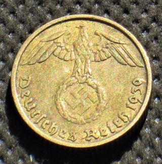 Old Coin Nazi Germany 5 Reichspfennig 1939 A Berlin W/ Swastika World War Ii (1) photo