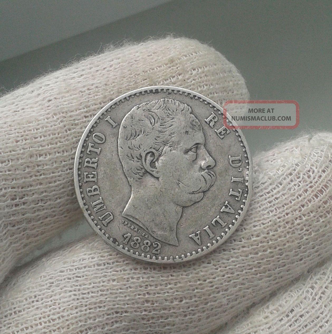 Italy Kingdom 1882 Umberto I.  2 Lira Silver Foreign Coin Rome Italy, San Marino, Vatican photo
