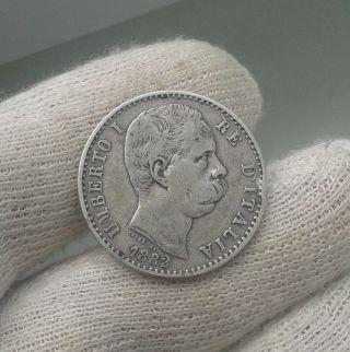 Italy Kingdom 1882 Umberto I.  2 Lira Silver Foreign Coin Rome photo