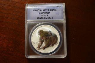 2010 - P Australia Koala 1oz.  999 Silver Anacs Ms70 Dcam photo