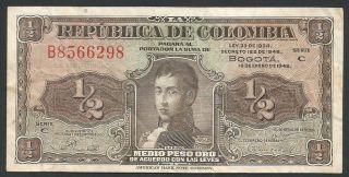 Colombia 1948 P - 345b Vf 1/2 Peso Oro photo
