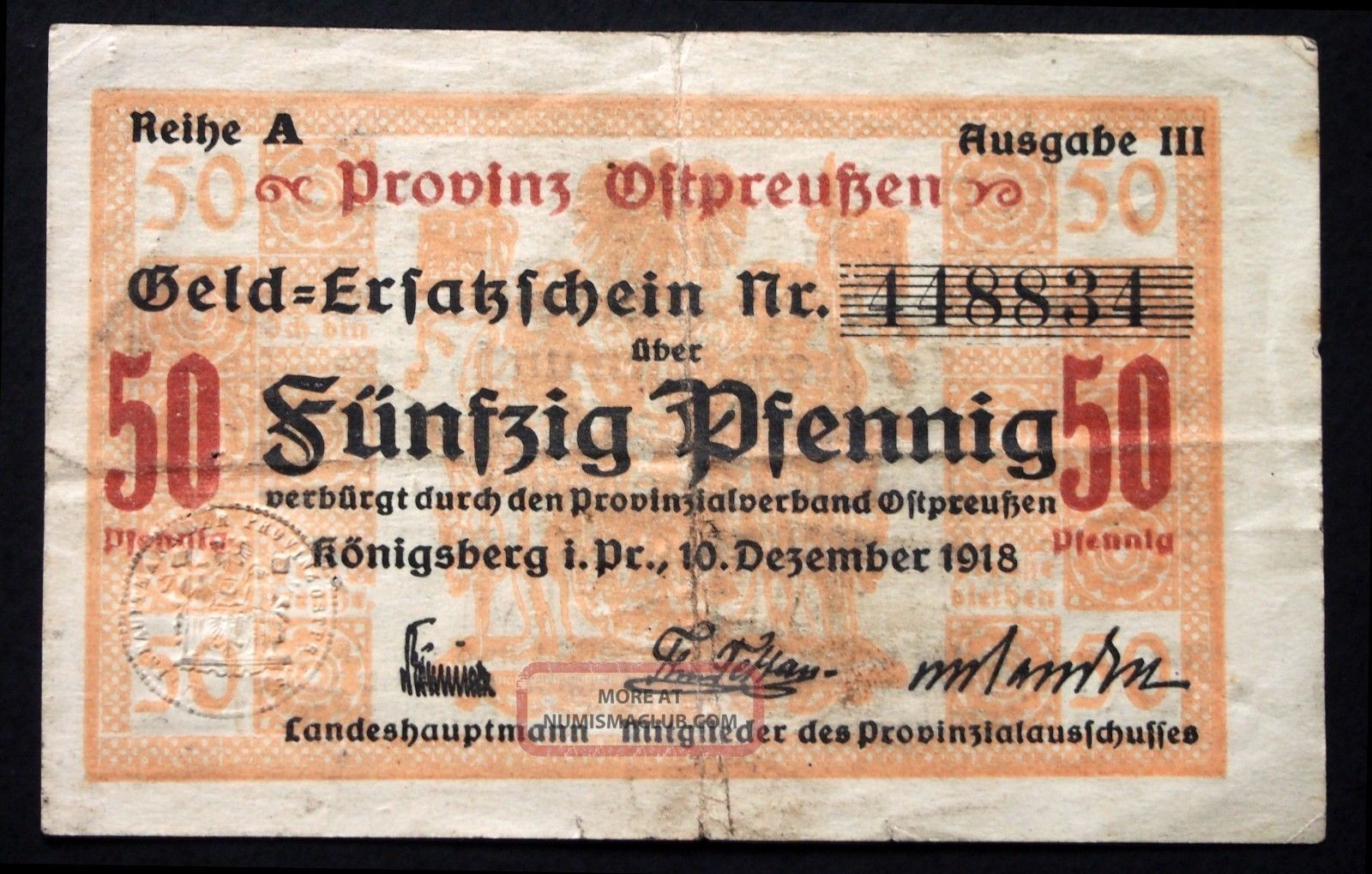 KÖnigsberg (east Prussia) 1918 50pf Circulating Notgeld Today Kaliningrad Russia Europe photo