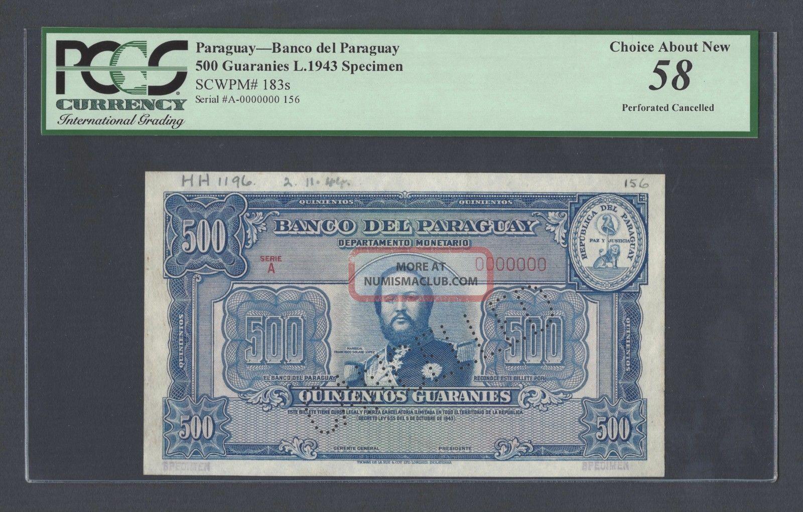 Paraguay 500 Guaraníes L1943 P183s Specimen Perforated About Uncirculated Paper Money: World photo