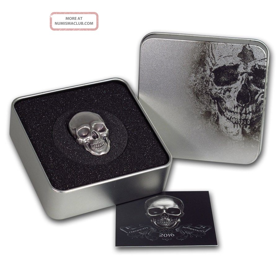2016 Palau $5 1 Oz Silver Antique Finish Skull Number 1 Coin.  999 W/coa Australia & Oceania photo