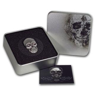 2016 Palau $5 1 Oz Silver Antique Finish Skull Number 1 Coin.  999 W/coa photo