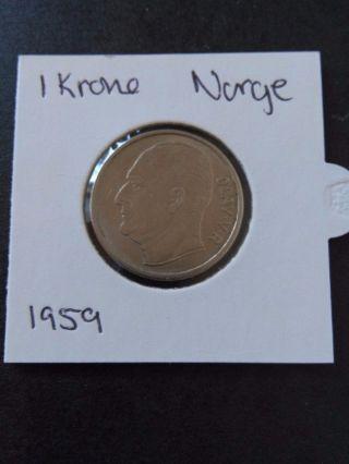 1 Krone 1959 Norway photo