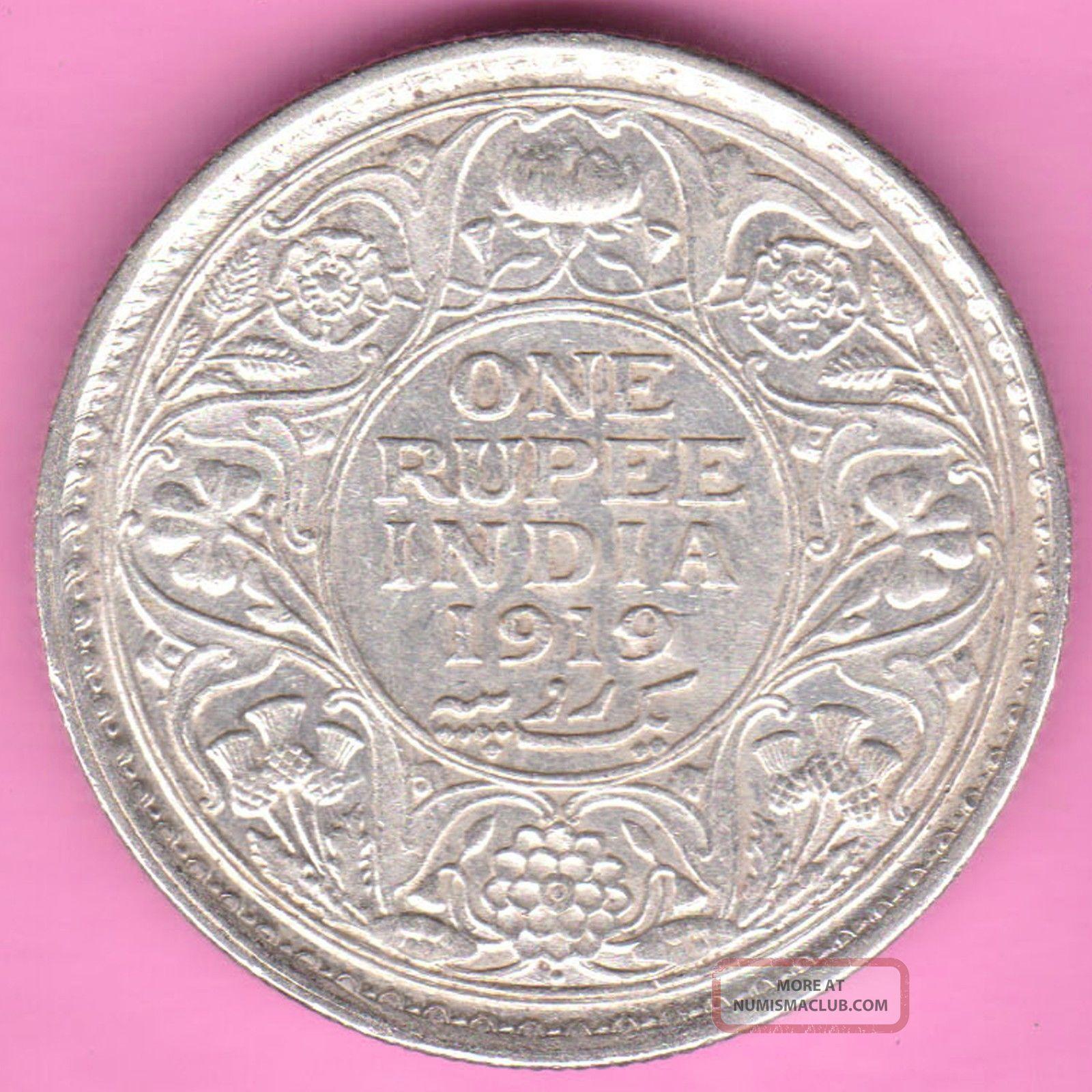 British India - 1919 - King George V - One Rupee - Rarest Silver Coin - 18 British photo