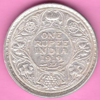 British India - 1919 - King George V - One Rupee - Rarest Silver Coin - 18 photo