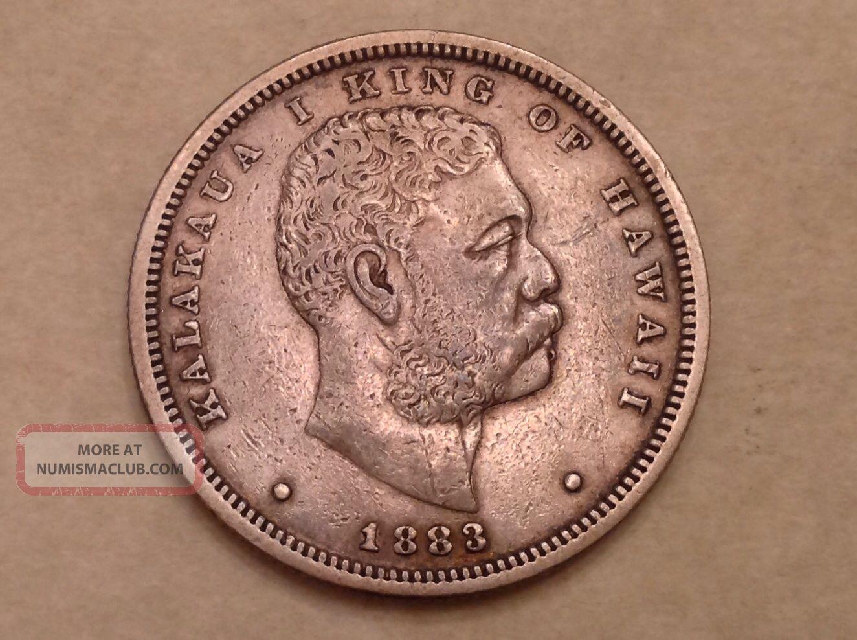 - 1883 Kingdom Of Hawaii 1/2 One Half Dollar Kalakaua I - Sharp Xf North & Central America photo