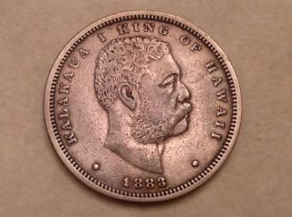 - 1883 Kingdom Of Hawaii 1/2 One Half Dollar Kalakaua I - Sharp Xf photo