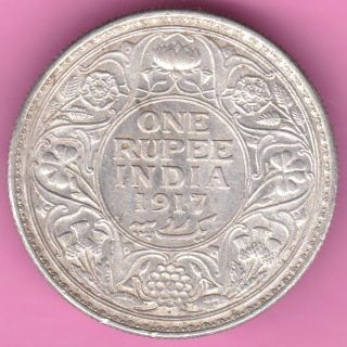 British India - 1917 - King George V - One Rupee - Rarest Silver Coin - 16 photo