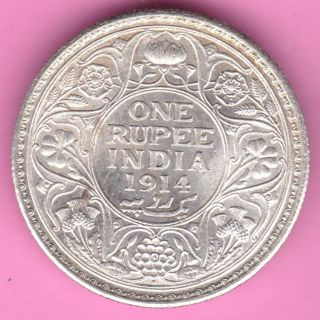 British India - 1914 - King George V - One Rupee - Rarest Silver Coin - 15 photo