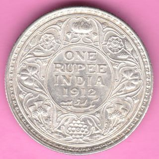 British India - 1912 - King George V - One Rupee - Rarest Silver Coin - 14 photo