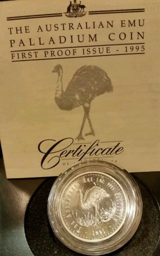 1oz 1995 Australia Proof Palladium Emu - Perth - Very Uncommon photo