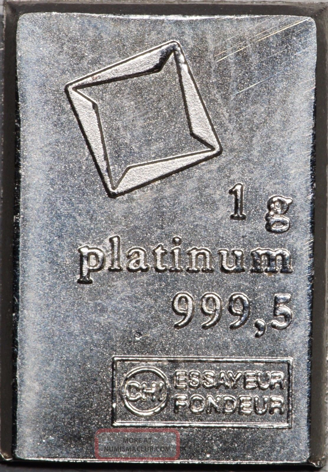 1 Gram Valcambi Platinum Fractional Bar,  No Assay Card Bullion photo