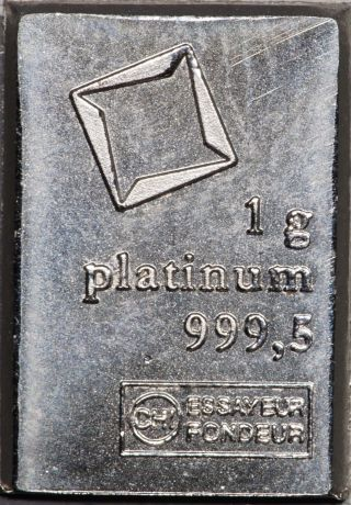 1 Gram Valcambi Platinum Fractional Bar,  No Assay Card photo
