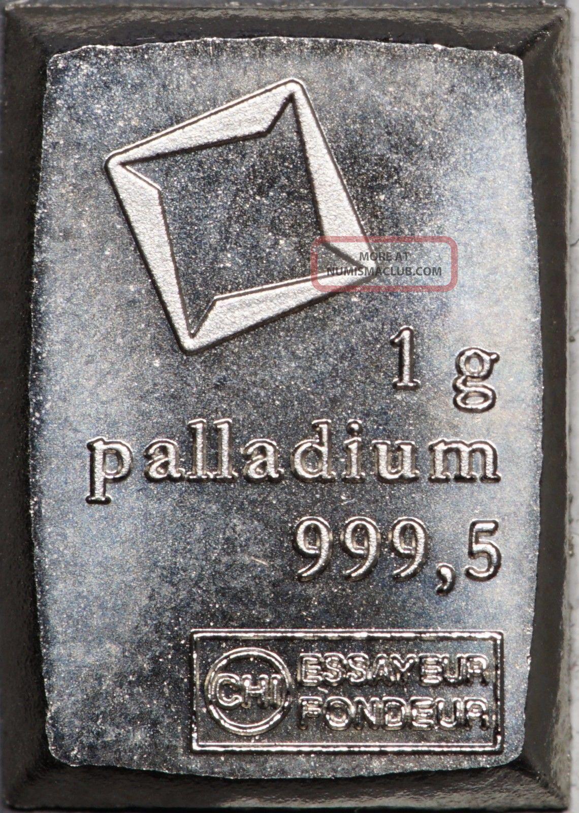 1 Gram Valcambi Palladium Fractional Bar,  No Assay Card Bullion photo