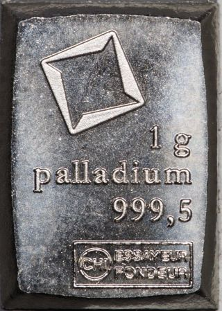 1 Gram Valcambi Palladium Fractional Bar,  No Assay Card photo