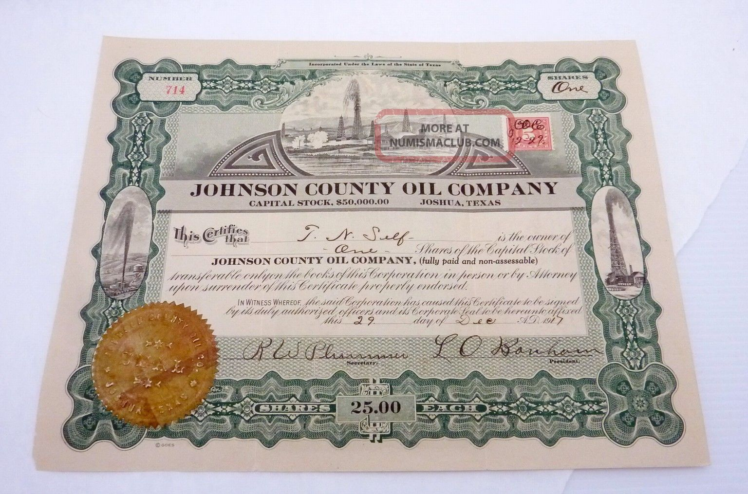 Antique 1917 Johnson County Oil Company Joshua Texas Stock Certificate 22963 Stocks & Bonds, Scripophily photo