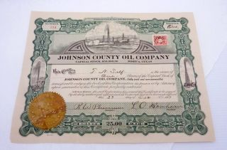 Antique 1917 Johnson County Oil Company Joshua Texas Stock Certificate 22963 photo
