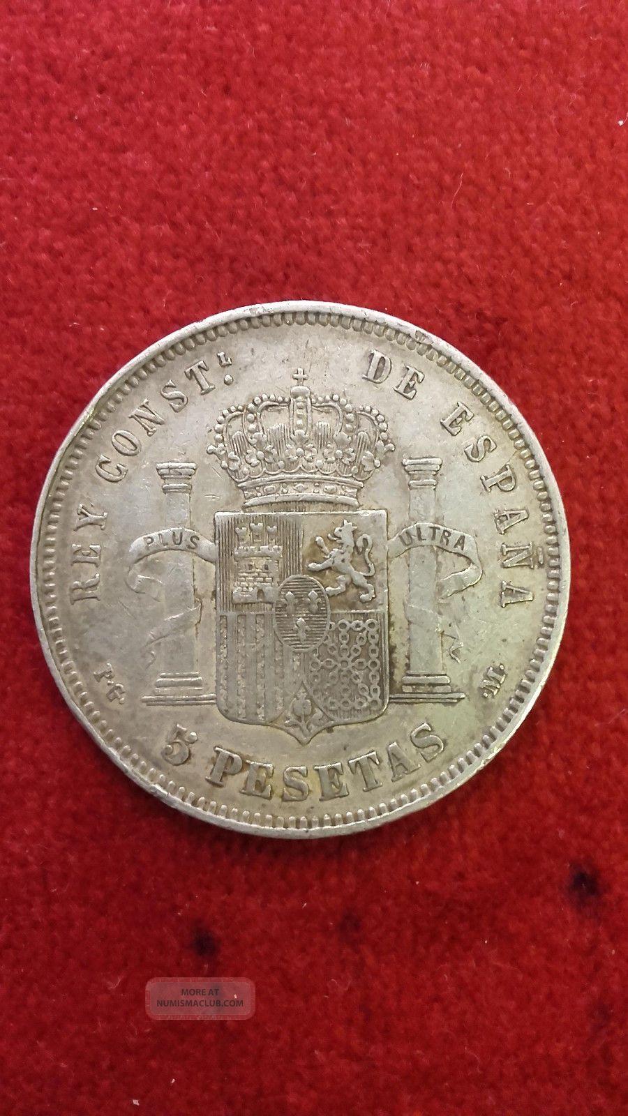 Spain : Silver 5 Pesetas 1891.  Alfonso Xiii.  Grade Vf. Spain photo