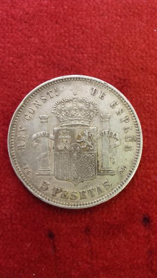 Spain : Silver 5 Pesetas 1891.  Alfonso Xiii.  Grade Vf. photo