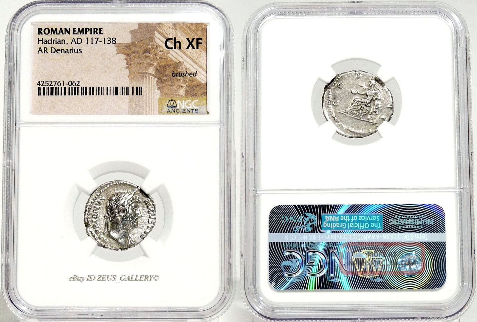 Hadrian Ngc Choice Xf Concordia Ancient Roman Empire Silver Denarius Coin Coins: Ancient photo