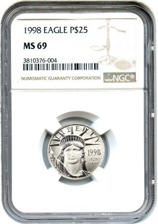 1998 Platinum Eagle $25 Ngc Ms69 - Statue Liberty 1/4 Oz photo