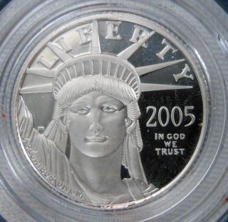 2005 - W 1/10 Ounce Platinum Eagle Bullion Proof Coin W/box & photo