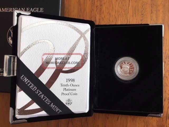 1998 Platinum Bullion American Eagle 1/10 Oz Proof $10 Ten Dollar Coin Platinum photo