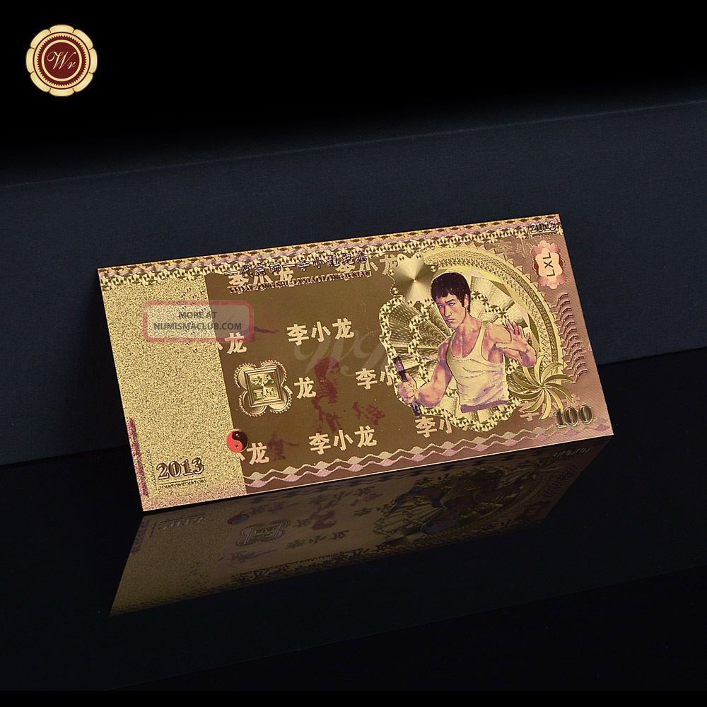Wr Souvenir Colorful Bruce Lee Paper Note 100 Rmb Chinese Gold Foil Banknote Asia photo